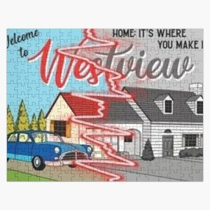 westview black and color Jigsaw Puzzle RB2904product Offical WandaVision Merch